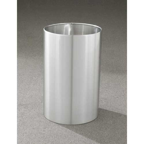 18 Gallon 15 x 23 Open Top Office Wastebasket Satin Aluminum