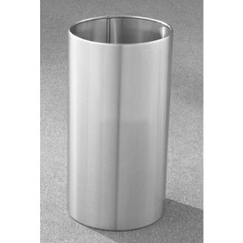 22 Gallon 15 x 29 Open Top Office Wastebasket Satin Aluminum