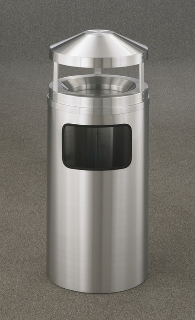 Satin Aluminum Canopy Top Ash Trash Receptacle with Sand Tray 3 Sizes