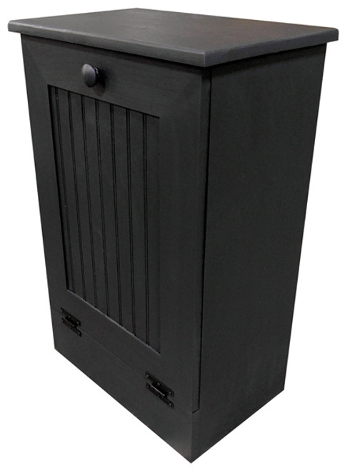 Small Kitchen Tilt Out Wooden Trash Bin Handmade in Pine (Black Solid Look)