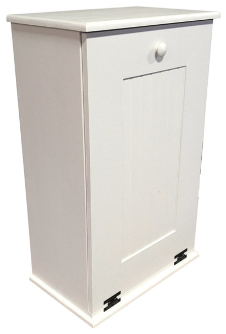 Tilt Out Wood Trash Can With Shelf Large (White Solid Look)