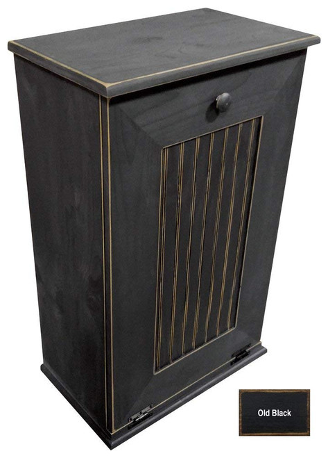 Large Kitchen Tilt Out Wood Trash Can With Shelf Handmade in Pine (Black Old Look)