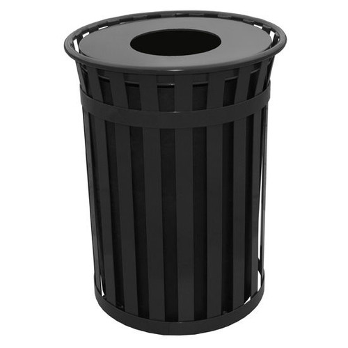50 Gallon Witt Industries Oakley M5001FT Outdoor Trash Can Black