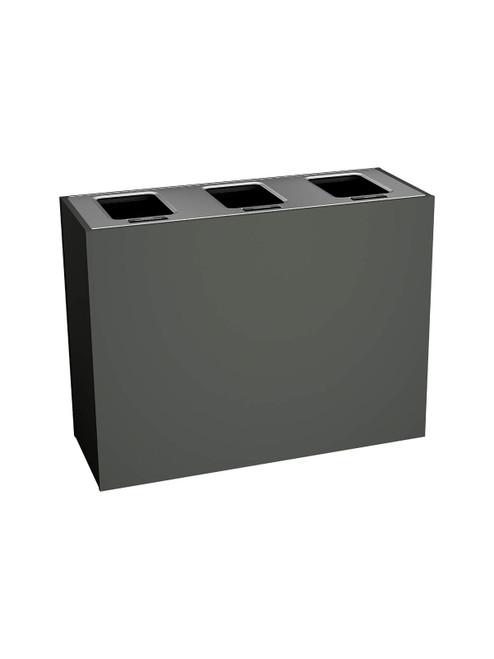 3 Stream 63 Gallon Aristata Tier 2 Recycling Bin 90942 Slate, 3 Full Openings
