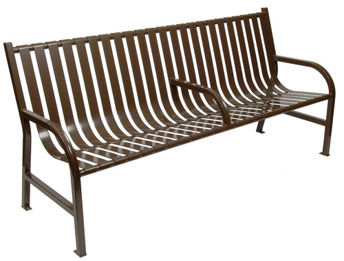 Witt Industries Oakley Outdoor Slatted Bench with Center Arm 6 Foot Brown
