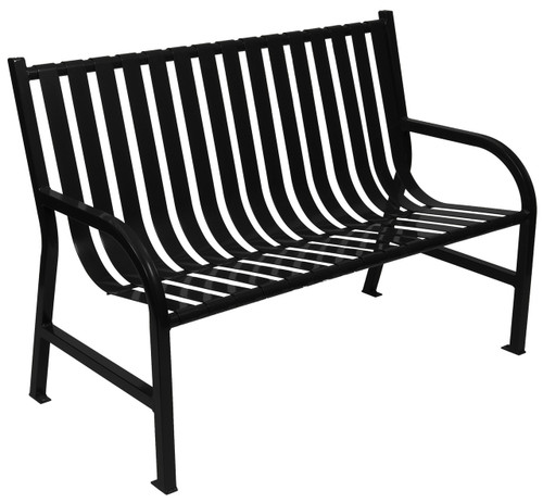 Witt Industries Oakley Outdoor Slatted Bench 4 Foot Black