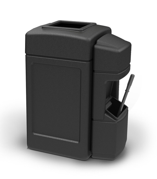 42 Gallon Trash Can with Windshield Service Center Black 759901