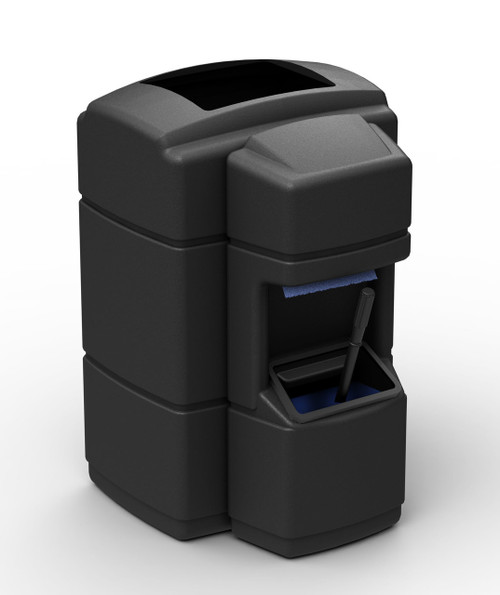 40 Gallon Trash Can with Windshield Service Center Black 758901