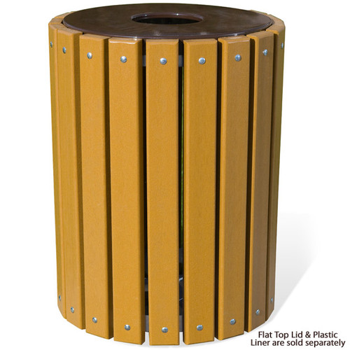 32 Gallon Ultra Site Recycled Plastic Round Trash Can TR32