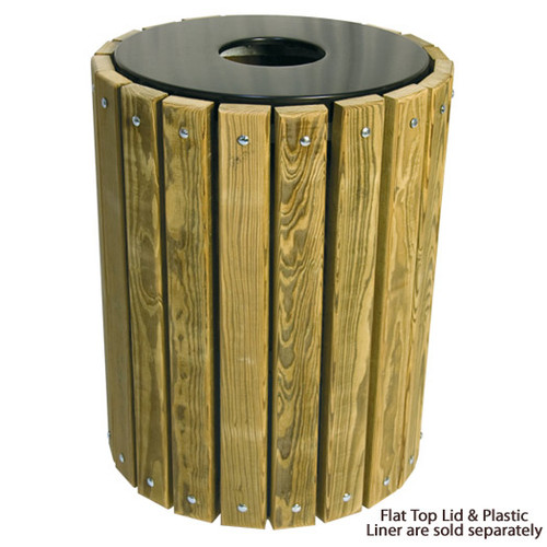 32 Gallon Ultra Site Round Wood Plank Pine Trash Can TR32W Pressure Treated with Flat Top Lid