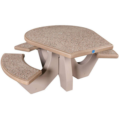 Concrete Picnic Table with Umbrella Insert Wheelchair Accessible TF3128 SAND