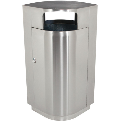 40 Gallon Leafview Locking Stainless Steel Lockable Trash Can 782029