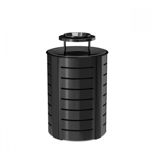 35 Gallon Ash and Trash Metal Trash Bin MTCRND3502 BLACK