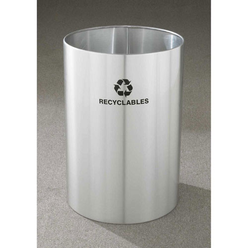 39 Gallon 20 x 29 Large Open Top Recycle Bin Satin Aluminum RO-2029
