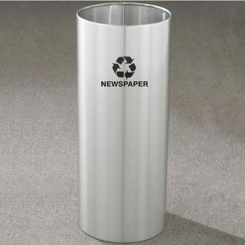 14 Gallon 12 x 29 Open Top Recycle Bin Satin Aluminum RO-1229SA