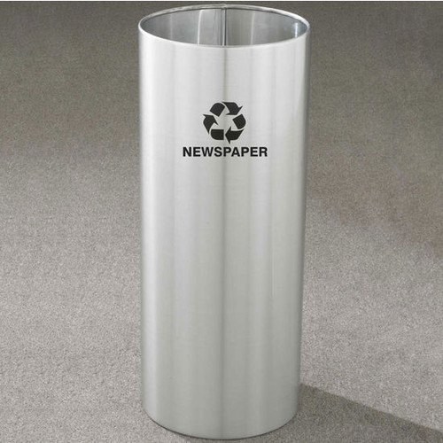 14 Gallon 12 x 29 Open Top Recycle Bin Satin Aluminum RO-1229SA
