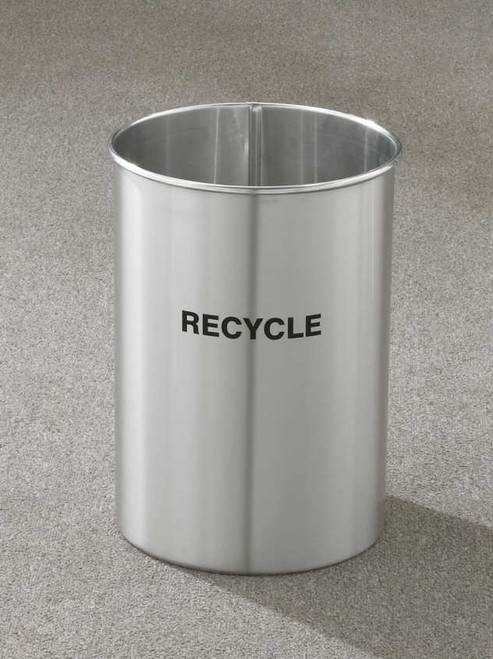 5 Gallon 10 x 15 Open Top Recycle Bin Satin Aluminum RO-66SA