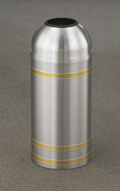 Capri T1234 Open Dome Top Trash Can Satin Aluminum