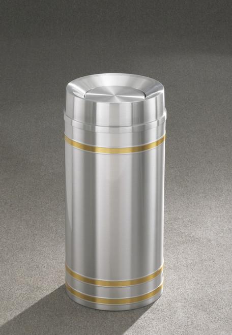 Capri TA1534 Tip Action Top Trash Can Satin Aluminum 16 Gallon