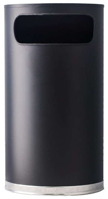 9 Gallon Designer Half Round Receptacle 9HR-BK BLACK
