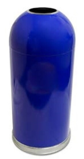 15 Gallon Metal Open Dome Top Trash Can 415DTBL Recycle Blue