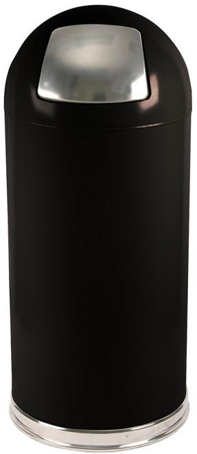 15 Gallon Metal Push Door Dome Top Black Trash Can 15DTBK