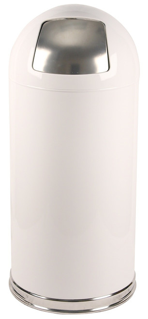 15 Gallon Metal Push Door Dome Top White Trash Can 15DTWH