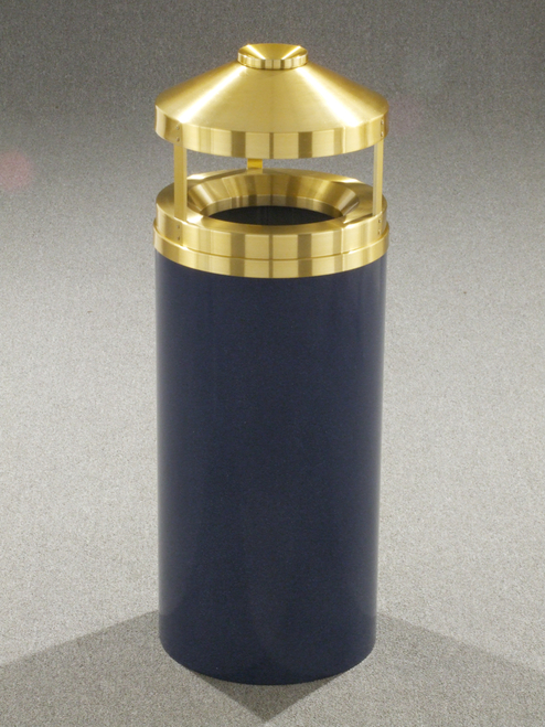 Glaro H1502 Canopy Top with Built-in Ashtray Satin Brass Top 15 Gallon BLUE MARBLE