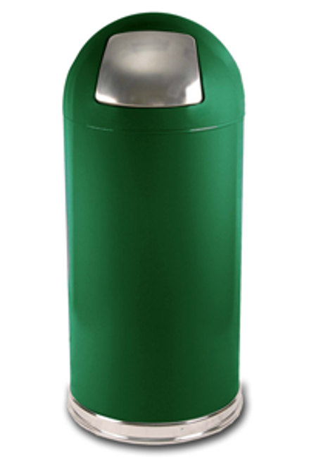 15 Gallon Push Door Dome Top Spruce Green Trash Can 15DTSGN