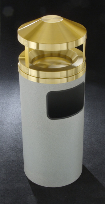 Glaro H1503 11 Gallon Canopy Top Ash Trash Receptacle with Sand Tray GRANITE