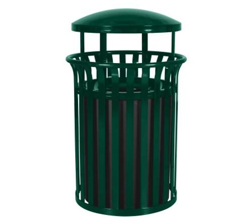 37 Gallon SCD-2633HGR Streetscape Covered Trash Can Green Gloss