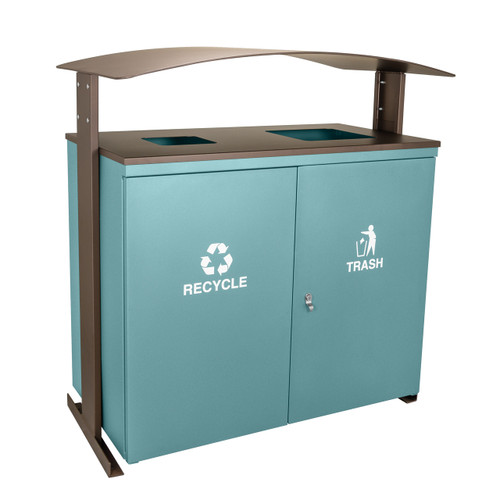 90 Gallon Ellipse Dual Recycling Bin RGU-3645 MAL/BRZX GREEN