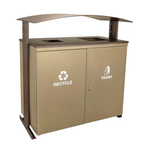 90 Gallon Ellipse Dual Recycling Bin RGU-3645 SAND/BRZX SANDSTONE