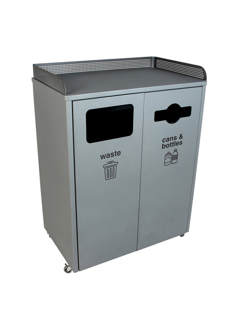 64 Gallon Metal COURTSIDE DOUBLE Food Court Trash Can 8104005-42