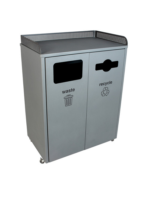 64 Gallon Metal COURTSIDE DOUBLE Food Court Trash Can 8104006-42