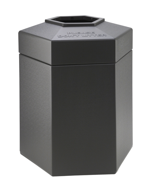 45 Gallon All Season Indoor Outdoor Hexagon Plastic Garbage Can Charcoal