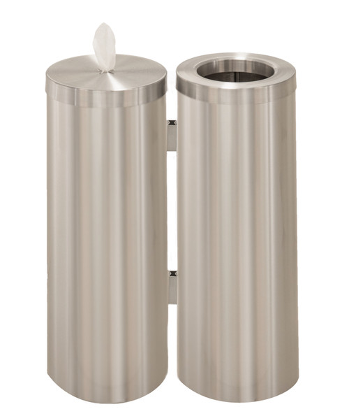 WD1030 Sanitizing Wipe Dispenser with Matching Trash Can Satin Aluminum