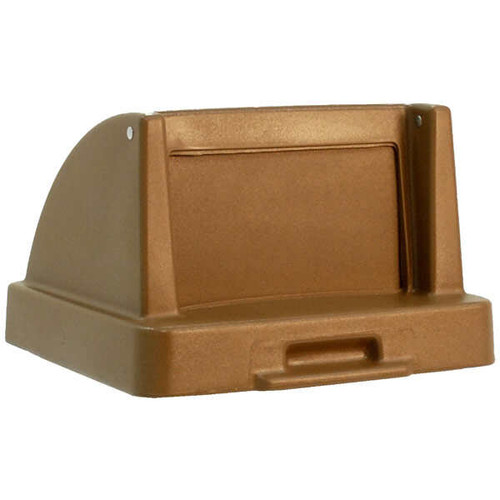 20.5 x 20.5 Push Door Plastic Lids TF1405QS for Square Trash Cans Brown
