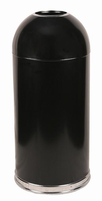12 Gallon Metal Black Open Dome Top Trash Can 412DTBK
