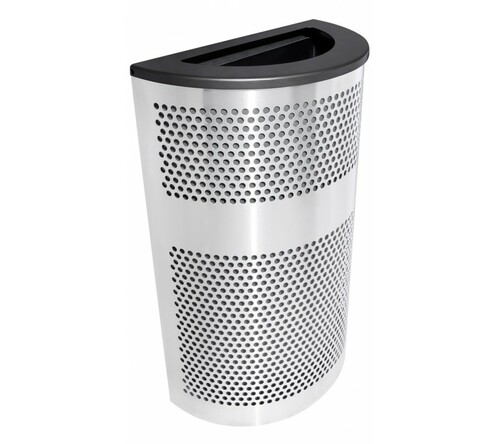 20 Gallon Perforated Half Round Stainless Steel Trash Can VC2234 HR SS/BLX