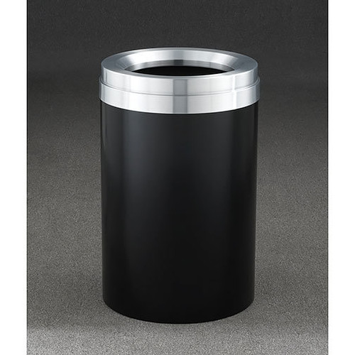 41 Gallon Value Recycle Bin F2037 Black with Satin Aluminum Lid