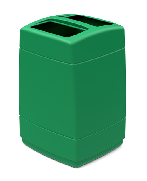 55 Gallon 2 Opening Square Plastic Outdoor Garbage Can Green