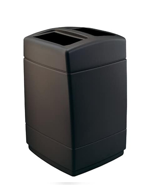 55 Gallon 2 Opening Square Plastic Outdoor Garbage Can Black