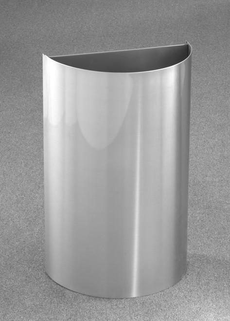16 Gallon Half Round Open Top Trash Can Satin Aluminum