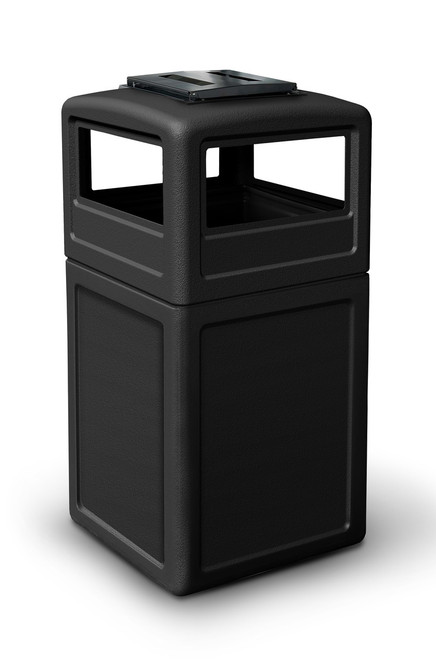 42 Gallon Square Outdoor Garbage Can Dome Lid and Ashtray Black