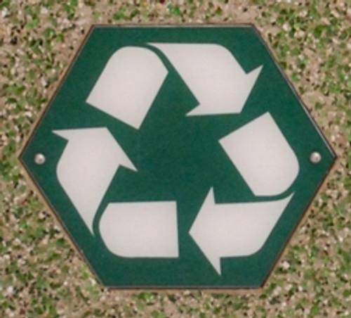 Hexagon Silk Screen Recycle Logo Green