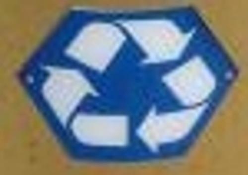 Hexagon Silk Screen Recycle Logo Blue