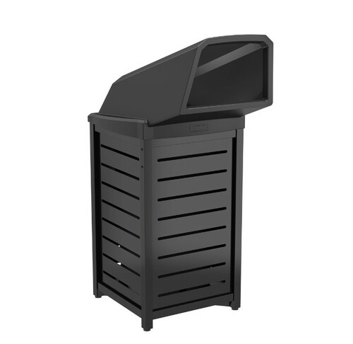 30 Gallon Side Door Thermoplastic Trash Can with Drive Up Chute MTCSQ305