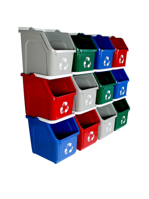 Stackable Multi Recycler 12 Pack 101381 (Blue, Gray, Green, Red)