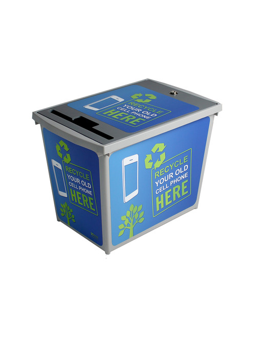 9 Gallon Locking Cell Phone E-Waste Recycler Secure Container 8122003